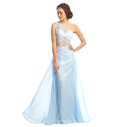 Australia Formal Dress Evening Gowns Sky Blue A Line Sexy One Shoulder Long Floor Length Chiffon Lace
